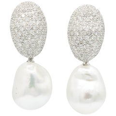 Day & Night South Sea Baroque Pearl Diamond Earrings 2.10 Carats 18K