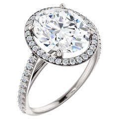 Oval Shape Halo Style Cathedral GIA Certified Diamond Wedding Engagement Ring