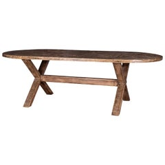 Oval-Shape Oak Trestle Dining Table
