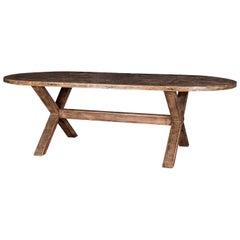 Oval-Shape Oak Trestle Dining Table