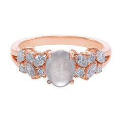 Oval Shape White Jade and Marquise Diamond Engagement Ring in 18k Rose Gold