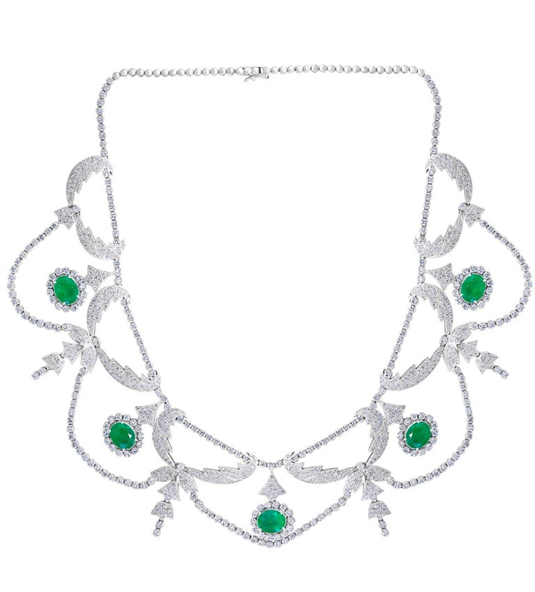 Oval Shape Zambian Emerald and Diamond Fringe Necklace and Earring Bridal Suite For Sale 5