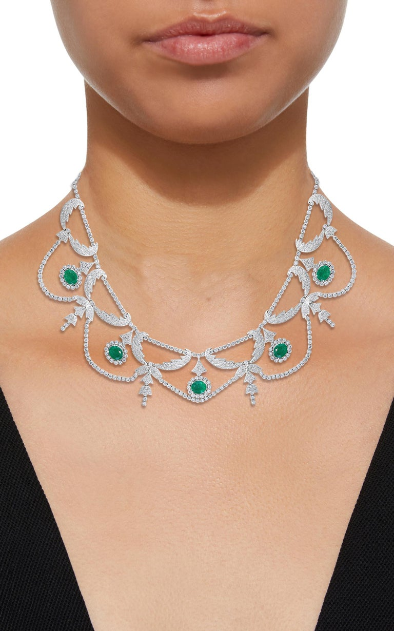 Oval Shape Zambian Emerald and Diamond Fringe Necklace and Earring Bridal Suite For Sale 10
