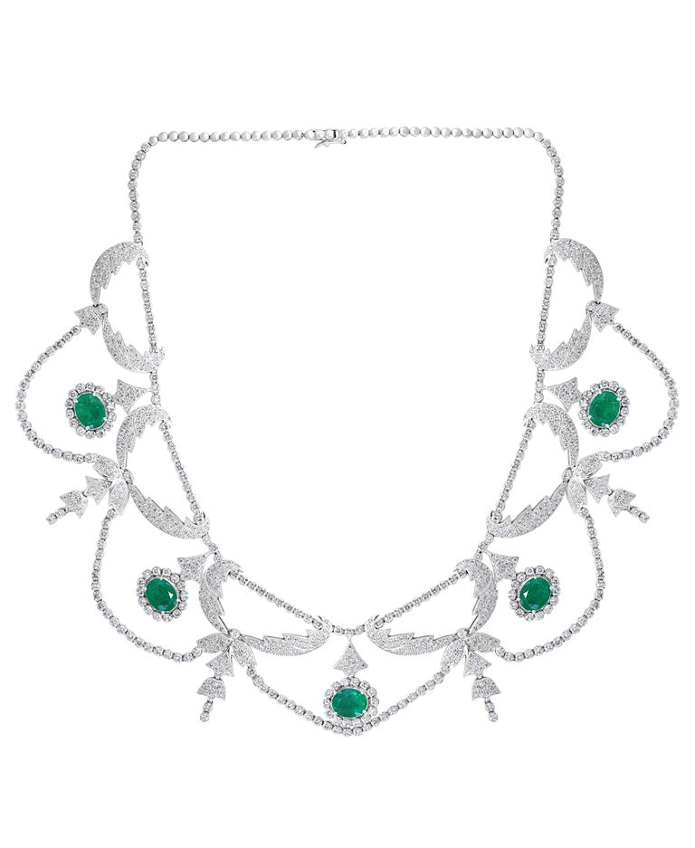 Oval Cut Oval Shape Zambian Emerald and Diamond Fringe Necklace and Earring Bridal Suite For Sale