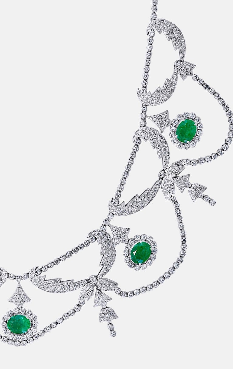 Oval Shape Zambian Emerald and Diamond Fringe Necklace and Earring Bridal Suite For Sale 2
