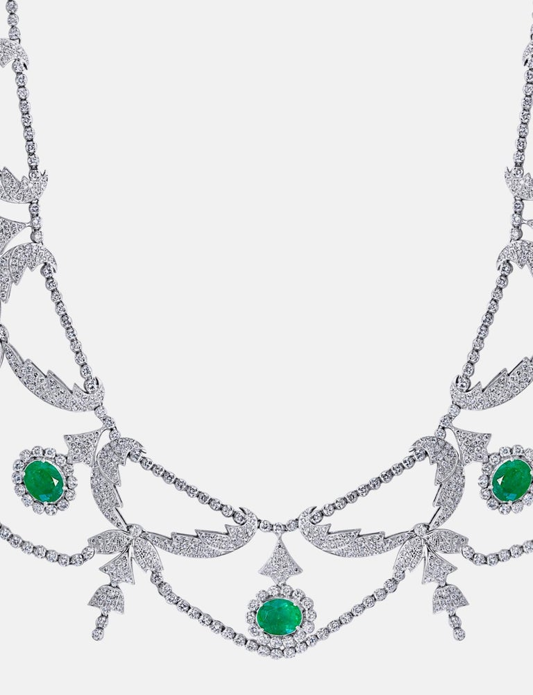 Oval Shape Zambian Emerald and Diamond Fringe Necklace and Earring Bridal Suite For Sale 3