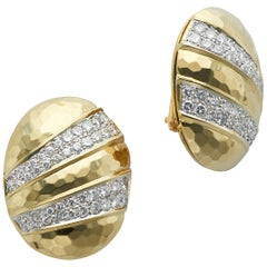Oval Shaped 18 Karat Yellow Gold Hammered Earrings