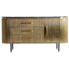 Oval Shaped Black Marble and Gilt Metal Sideboard