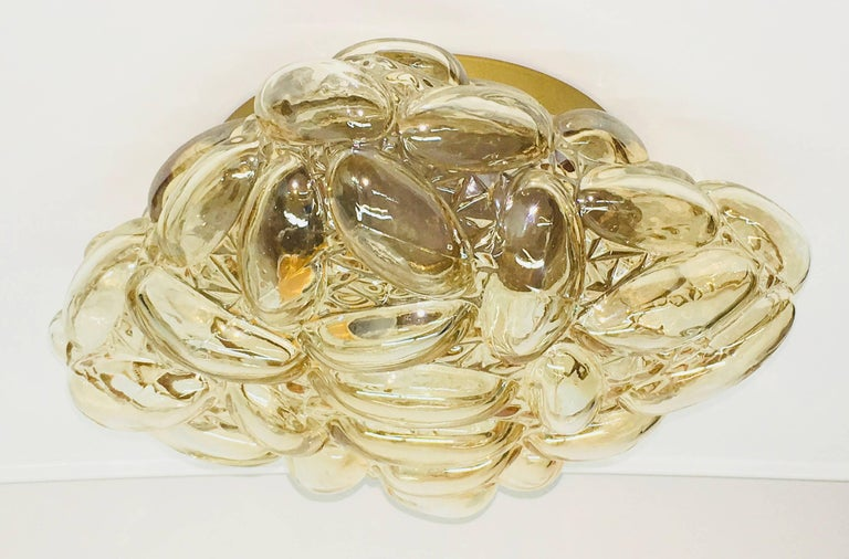 German Oval Shaped Bubble Amber Glass Flush Mount by Limburg, 1960s For Sale