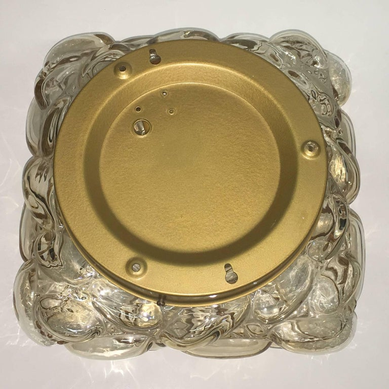 Oval Shaped Bubble Amber Glass Flush Mount by Limburg, 1960s In Good Condition For Sale In Frisco, TX