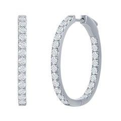 Oval Shaped Diamond Hoop Earrings 3 Carat