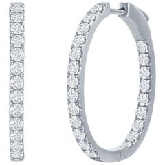 Oval Shaped Diamond Hoop Earrings 4.50 Carat