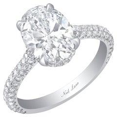 Neil Lane Couture Oval-Shaped  Diamond, Platinum Ring