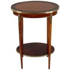 Oval Shaped French Rosewood Side Table, Late 19th Century, circa 1880, Marquetry