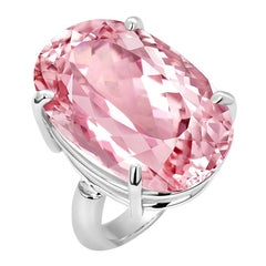 Oval Shaped Pink Kunzite Weighing 28.61 Carats White Gold Cocktail Ring