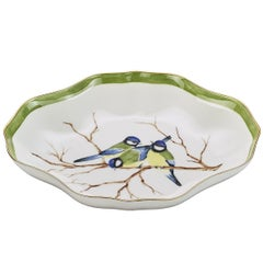 Oval Shaped Porcelain Pastry Dish Hand-Painted Birds Sofina Boutique Kitzbühel