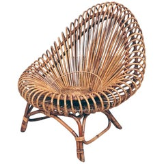 Oval-Shaped Rattan Armchair in the Manner of Franco Albini, 1960s