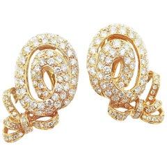 Oval Shaped Ribbon Diamond Pavé Clip-On Gold Earrings