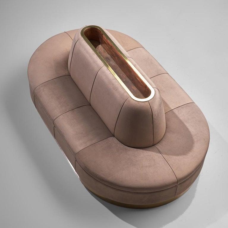 Mid-Century Modern Oval Shaped Sofa in Soft Pink Velvet Upholstery For Sale