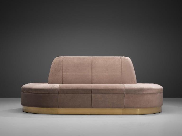 Italian Oval Shaped Sofa in Soft Pink Velvet Upholstery For Sale