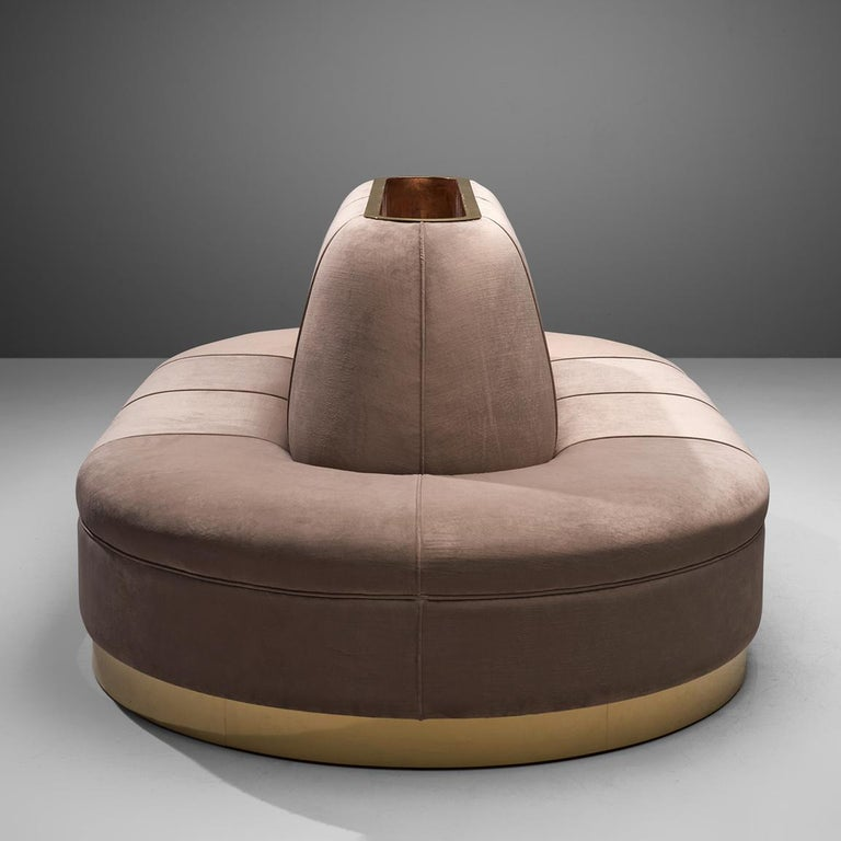 Brass Oval Shaped Sofa in Soft Pink Velvet Upholstery For Sale
