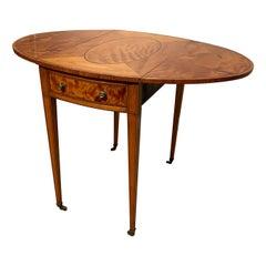 Oval Sheraton Satinwood Pembroke Table, Circa 1790