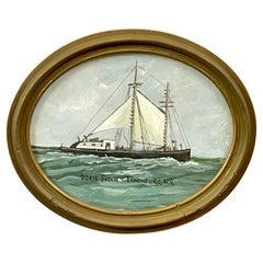 "Oval Ship Painting of the ""Doris Susan"" Schooner, Lunenburg, Nova Scotia"
