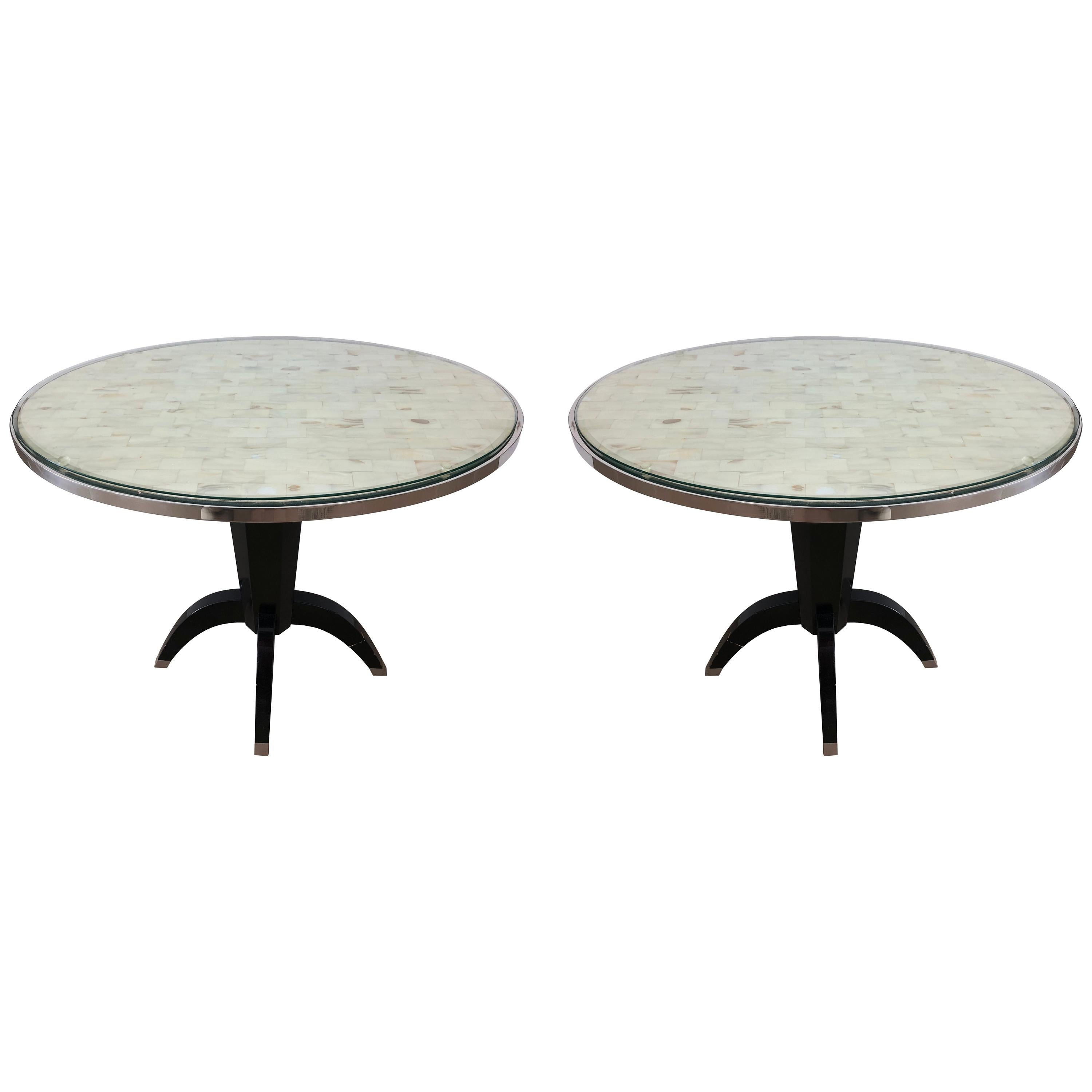 Oval Side Tables with Mother of Pearl Top and Black Lacquered Base