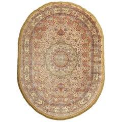 "Oval Silk & Gold Threading Vintage Souf Persian Tabriz Rug. Size: 9' 7"" x 13' 4"""