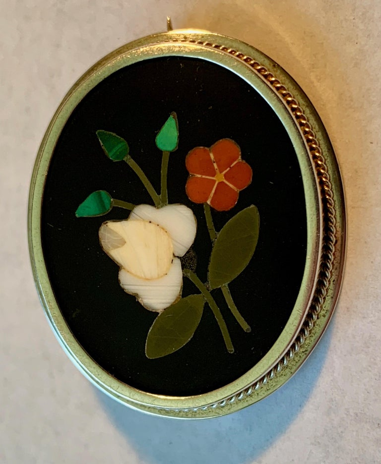 Oval Cut  Silver Pietra Dura Oval Brooch For Sale