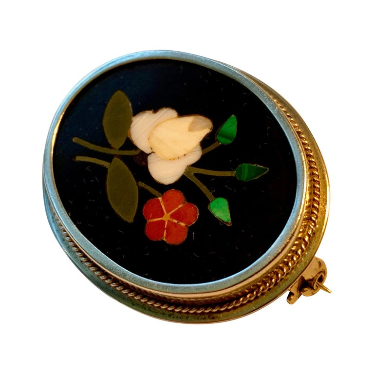 Silver Pietra Dura Oval Brooch For Sale