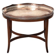 Oval Silver Plate Tray Table on Mahogany Base