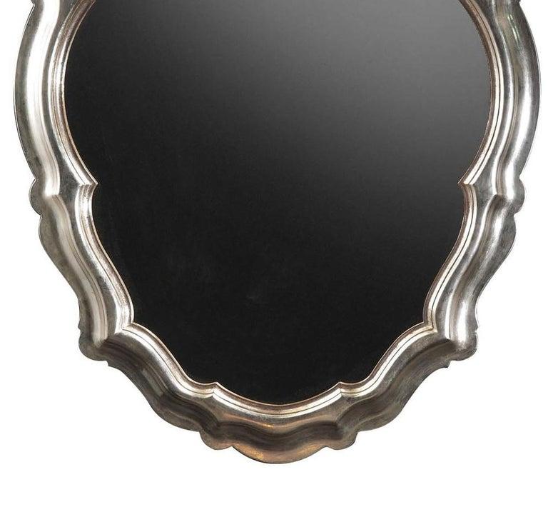 Italian Oval Silver Wall Mirror by Spini Firenze