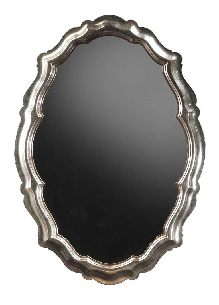 Oval Silver Wall Mirror by Spini Firenze In New Condition In Milan, IT