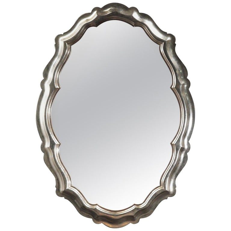 Oval Silver Wall Mirror by Spini Firenze