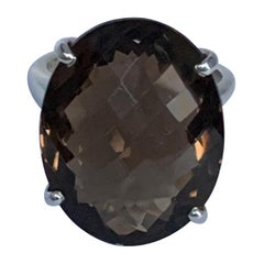 Oval Smokey Quartz Sterling Silver Ring