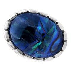 Stephen Dweck Oval Smooth Cabochon Smokey Quartz Over Blue Green Abalone Ring