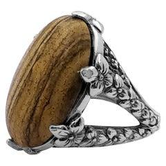 Oval Smooth Cabochon Jaspar Ring