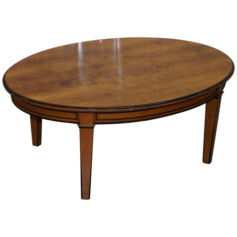 Dining Room Table Refinishing: Oval Solid Birch Swedish Biedermeier Dining Table For
