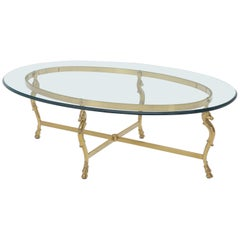 Oval Solid Brass Hoof Feet Horse Heads Base Glass Top Coffee Table