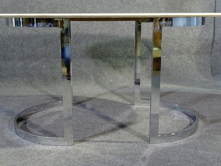 Mid-Century Modern Oval Stone Top Dining Table For Sale
