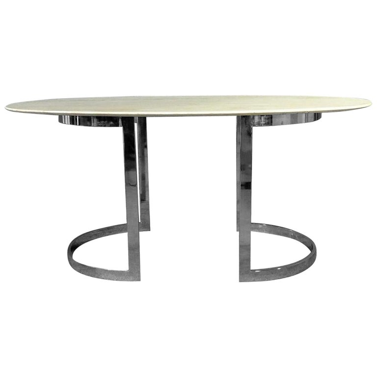 Oval Stone Top Dining Table For Sale