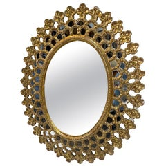 Oval Sunburst Mirror with Gilt Finish