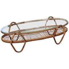 Oval Table Coffee Garden Swimming POOL Bamboo Bonacina Italian Design, 1950s