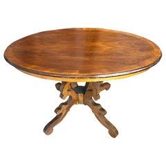 Oval Table in Walnut, from 1900, Original Tuscan Veneered Top, Solid Wood Legs
