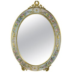 Oval Table Mirror with Porcelain Frame
