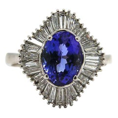 Oval Tanzanite and Diamond Ballerina Ring in 18K