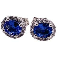 Oval Tanzanite and Diamond Halo Earring Studs 14 Kara Gold December Birthstone