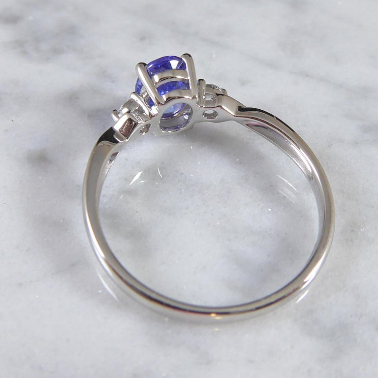 Oval Tanzanite and Diamond Three Stone Ring in Platinum In Excellent Condition For Sale In Yorkshire, West Yorkshire