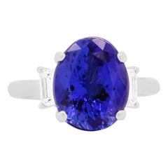Oval Tanzanite Baguette Diamond Three Stone Step Cut Engagement Cocktail Ring